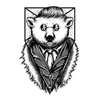Mr polar bear black and white illustration