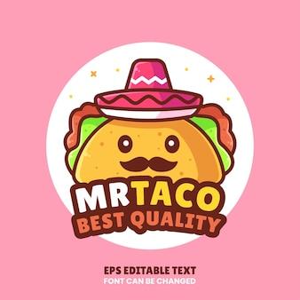 미스터 타코 로고 벡터 아이콘 일러스트레이션레스토랑을 위한 플랫 스타일의 프리미엄 패스트 푸드 로고