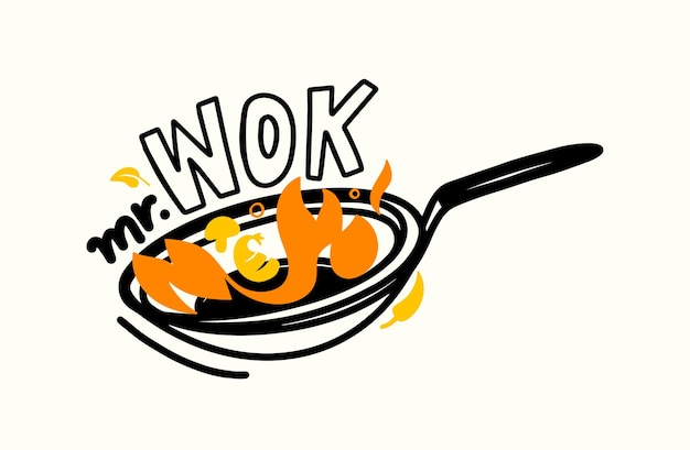 Mr. wok banner, chinese food cooking and fried asian meals concept with spicy ingredients and fire on pan. emblem for china house or asia restaurant, isolated label or icon . vector illustration