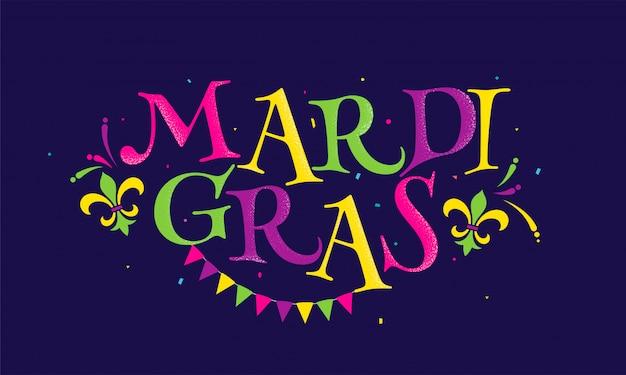 Цветастый текст mradi gras с символом fleur-de-lis, конфетти и флагом овсянки украшенным на пурпуре.