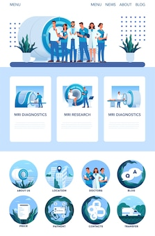 Mri clinic website or mobile app concept. medical research and diagnosis. modern tomographic scanner. health care concept. web banner and icons.