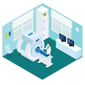 Mri diagnostic procedure isometric concept