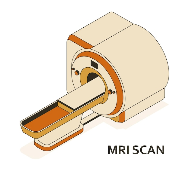 Mri or magnetic resonance imaging scan device. medical equipment and health care. radiography department with mri scanner