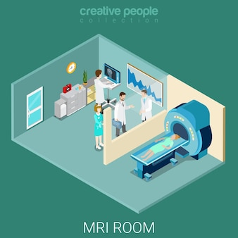 Mri mrt room flat isometric