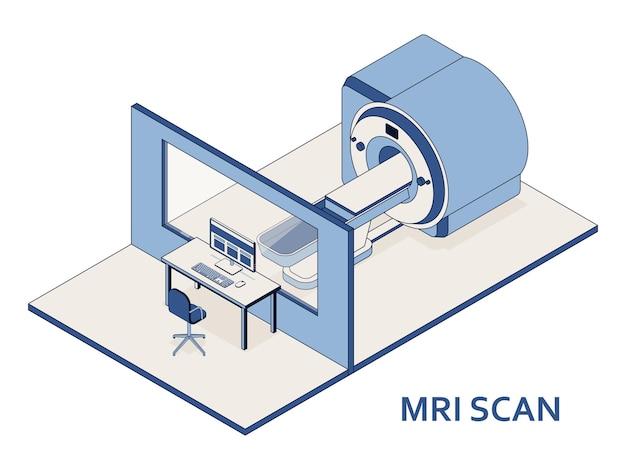 Mriまたは磁気共鳴画像スキャン装置。医療機器とヘルスケア。病院のmriスキャナーを備えたx線撮影部門の内部。