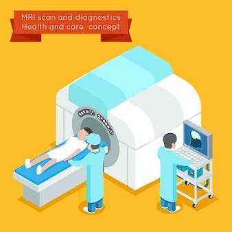 Processo di risonanza magnetica. 3d isometrico mri concetto di assistenza sanitaria vettoriale. mri medica e tecnologia mri illustrazione dello scanner mri o mri