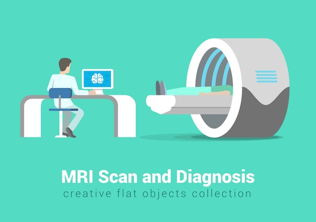 Mri scan and diagnostics process. hospital patient and doctor in procedure room interior. creative people healthy lifestyle collection.