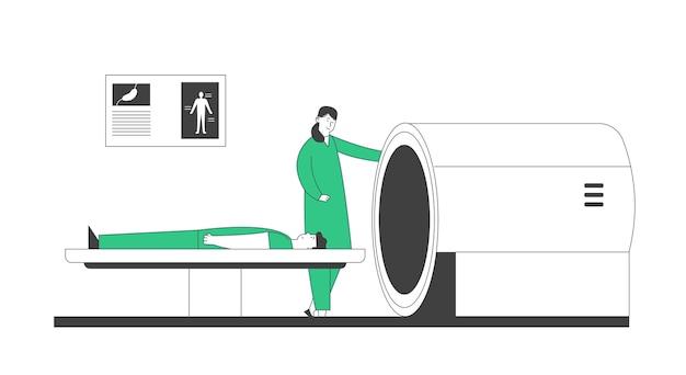Мрт сканер в больнице. цифровые технологии магнитно-резонансной томографии в диагностической концепции медицины. медицинское обслуживание, врач и пациент в клинике.