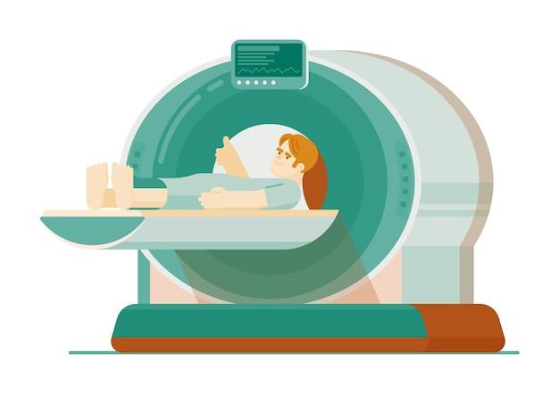 Mriスキャン。白い背景で隔離のmriスキャンマシン内に横たわっている患者。磁気共鳴またはコンピューター断層撮影機能診断イラスト
