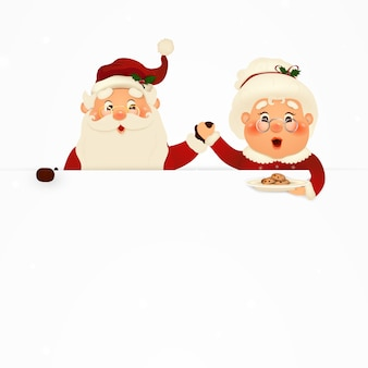 Mrs. claus together.  cartoon character of happy santa claus and his wife with signboard, advertisement banner. cute santa claus and mrs. claus with cookies and white copy space, falling snow.