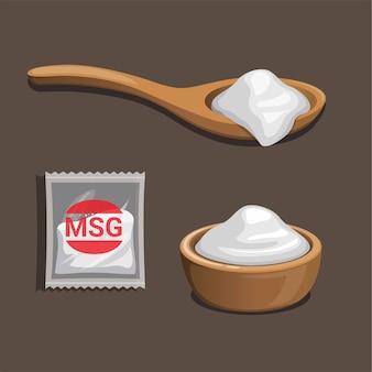 Msg-글루타민산 나트륨. 식품 향료 제품.