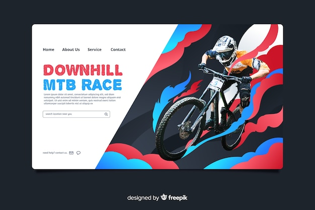 Mtb race sport landing page