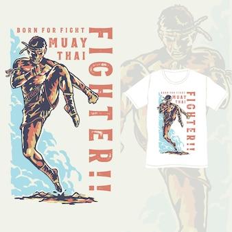 Поза бойца тайского бокса с иллюстрацией винтажного стиля