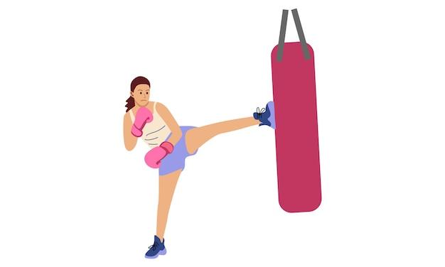 Muay thai training with kneeling boxing sandbag