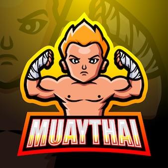 Muaythai mascot esport logo design