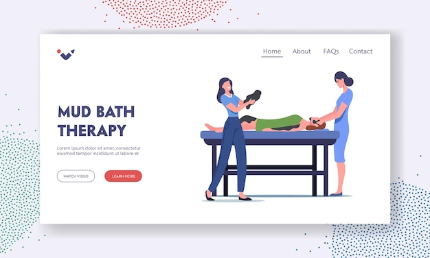 Mud bath therapy landing page template. beauty, skincare, wellness treatment. female character apply facial or body spa. doctor processing woman with charcoal cream. cartoon people vector illustration