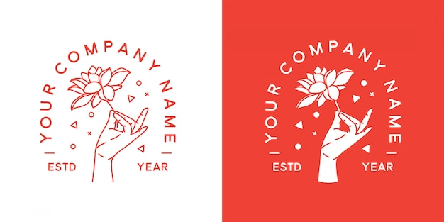 Mudra hand logo minimalist