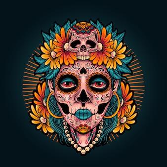 Muertos girl illustration of dia de los muertos
