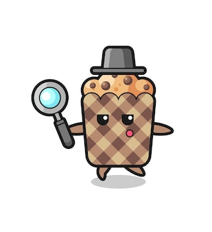 Muffin cartoon character searching with a magnifying glass , cute design