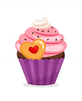 Muffin with pink cream and heart shape cookie. vector cupcake illustration
