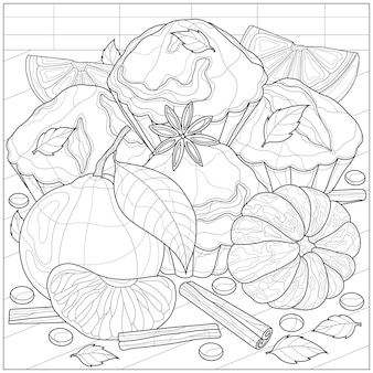 Muffins with tangerine, cinnamon and anise.coloring book antistress for children and adults.zen-tangle style.black and white drawing