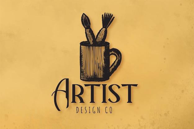 Кружка и кисть инструменты логотип дизайн вдохновение, векторные иллюстрации
