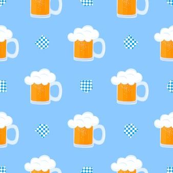 Mug of beer with foam and decorative flag oktoberfest seamless pattern