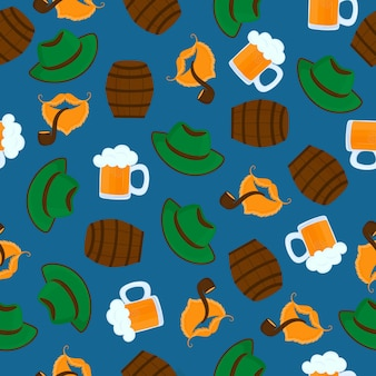 Mug of beer with foam. green hat. male beards and mustache. smoking pipe. oktoberfest. seamless pattern.