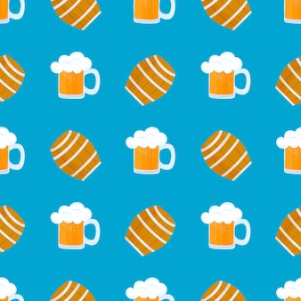 Mug of beer with foam. wooden barrel for wine. traditional german pastries. national food to oktoberfest. seamless pattern.