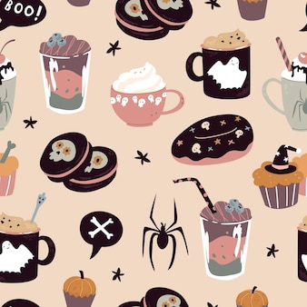 Mug cup coffee milk shake smoothie autumn leaf macaroons scull spider vector illustration