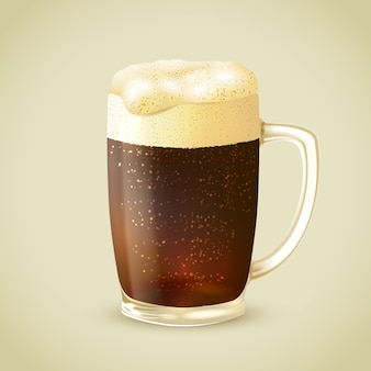 Mug of dark beer illustration