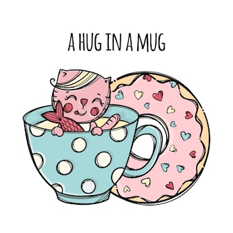 Mug and doughnut. cute kitten caught fish in cup with hot drink cartoon hand drawn sketch