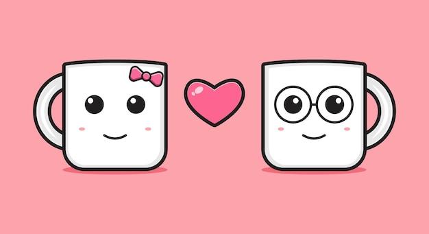 Mug fall in love cartoon icon vector illustration. design isolated flat cartoon style