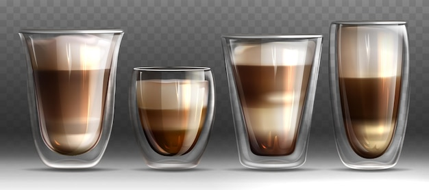 ラテまたはカプチーノとミルクと泡でいっぱいのマグカップ。ホットコーヒーとさまざまな形のガラスカップ