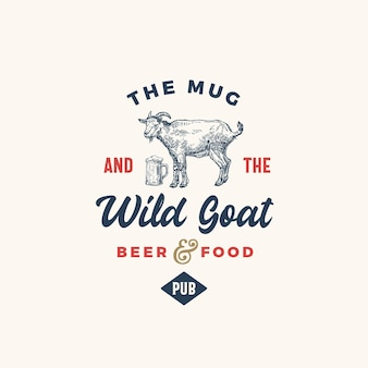 The mug and goat pub or bar abstract  sign, symbol or logo template.
