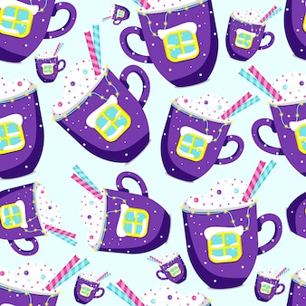 Mug of hot cocoa or coffee with whipped cream and sprinkles. flat vector illustration.