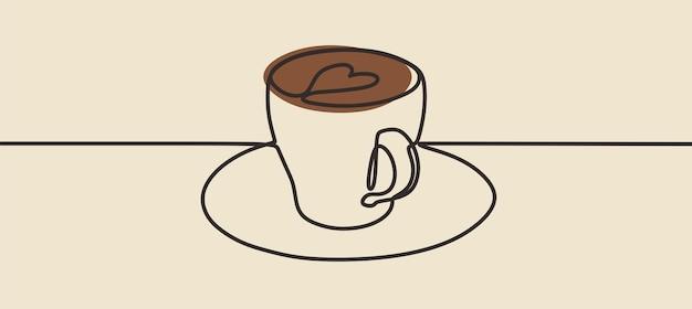マグカップミニマリズムワンラインアート連続線画プレミアムベクトル