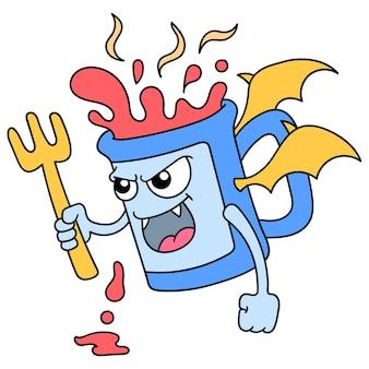 Кружка горячего напитка с лицом, полным гнева, горит, как дьявол, векторная иллюстрация искусства. каракули изображение значка каваи.