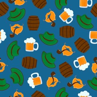 거품이 있는 맥주 한 잔. 녹색 모자. 남성 수염과 콧수염. 담배 파이프. 옥토버페스트. 완벽 한 패턴입니다.