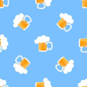 泡とビールのジョッキ。オクトーバーフェストのシームレスパターン