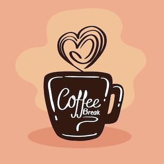 コーヒーとハートのマグカップ