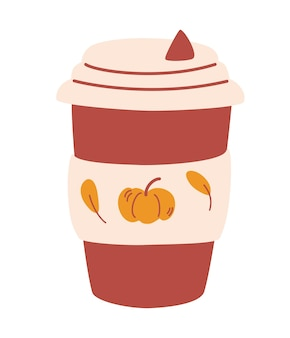 Mug of pumpkin coffee. tasty pumpkin spice latte. delicious seasonal hot drink.