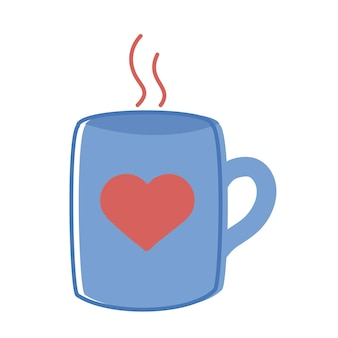 ハートの愛のアイコンとマグカップ