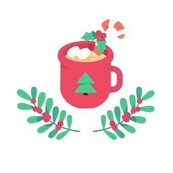 뜨거운 코코아 또는 사탕 지팡이 마시멜로와 홀리 가지가 있는 커피 머그
