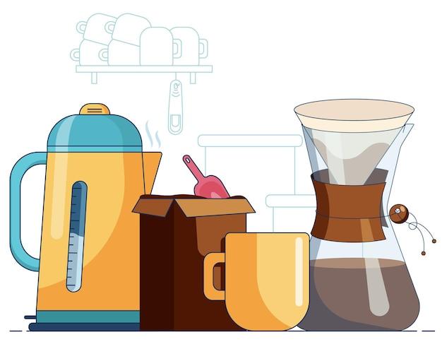 뜨거운 커피 주전자와 필터 백 상자가 있는 머그, 커피와 전기 주전자가 주방 앞에 있습니다.