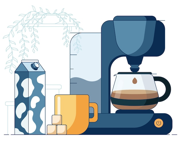 꽃이 있는 냄비 앞에 드립 커피 머신 설탕 큐브와 우유로 만든 뜨거운 커피가 든 머그