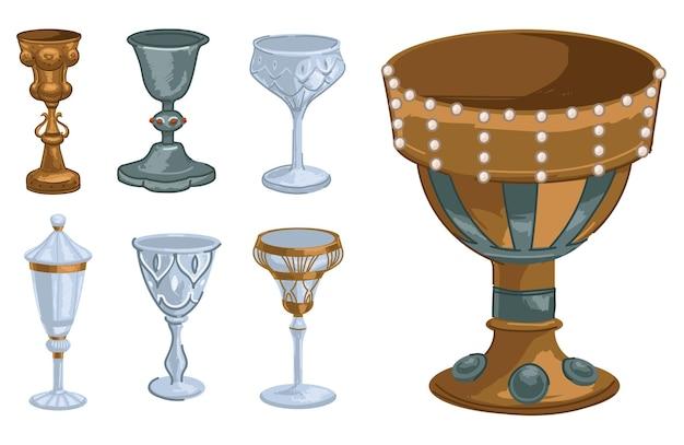 宝石や真珠で飾られたマグカップやカップ、金、ガラス、金属で作られた孤立したゴブレット。教会での飲み物や儀式用の容器。古代中世の記号、フラットスタイルのベクトル