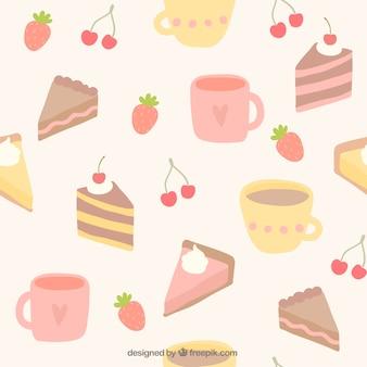 Mugs and cakes pattern