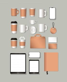 Кружки для планшета и макета на сером фоне