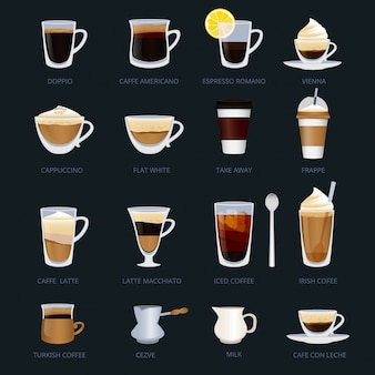 Mugs with different type of coffee. espresso, cappuccino, macchiato and others.
